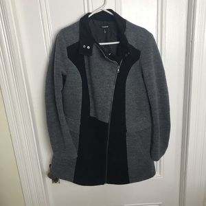 Torrid gray black asymmetrical zipper wool coat